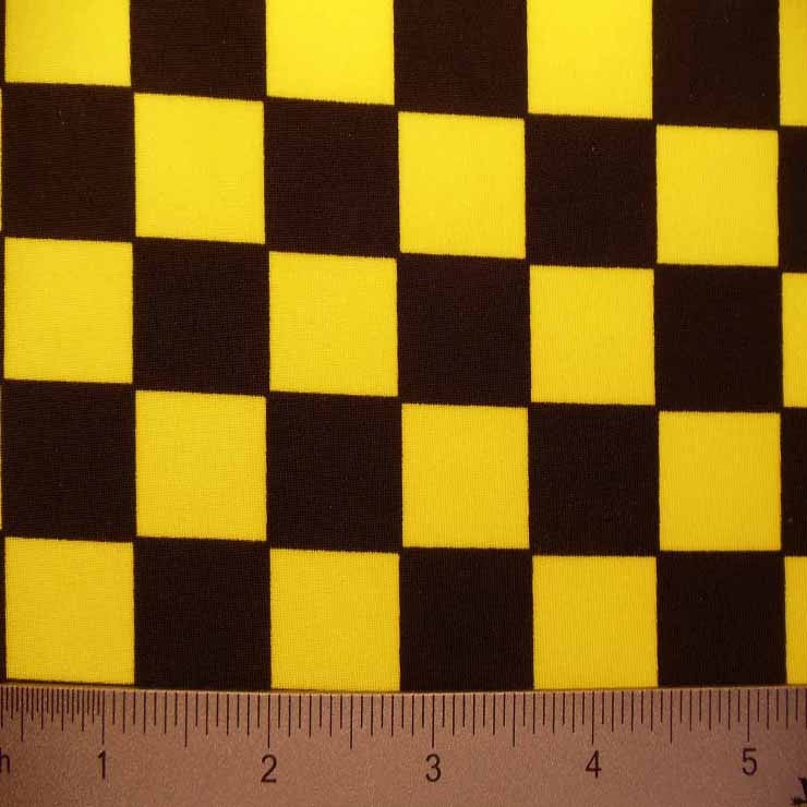 Checkerboard Print Spandex #2 01 Yellow Black