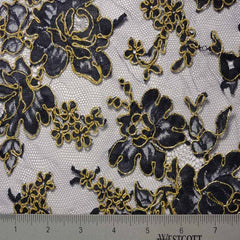 Alencon Lace #2 02 12060R 36 NavyGold - NY Fashion Center Fabrics