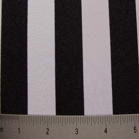 Stripes 4Way Stretch Fabric 02 1inch Stripe Black White