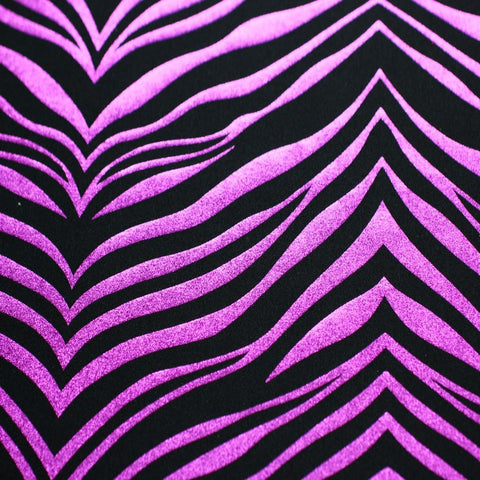 Metallic Zebra Print Spandex 02 Fuchsia Black - NY Fashion Center Fabrics