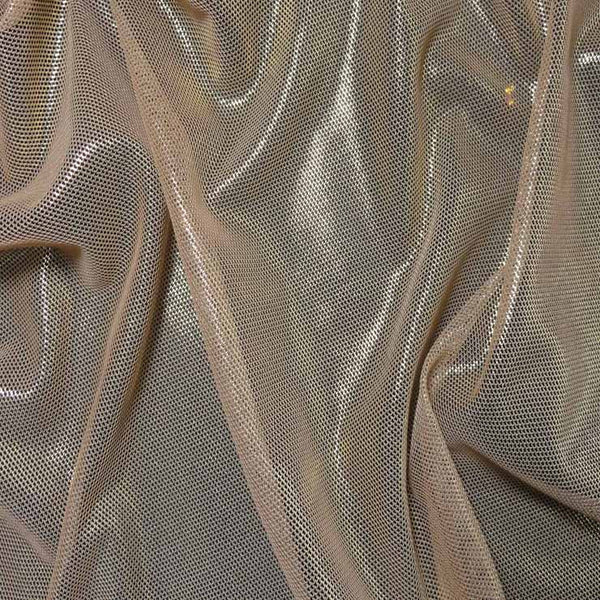 Irridescent metallic stretch mesh 02 gold nude fabric by for Spandex fabric