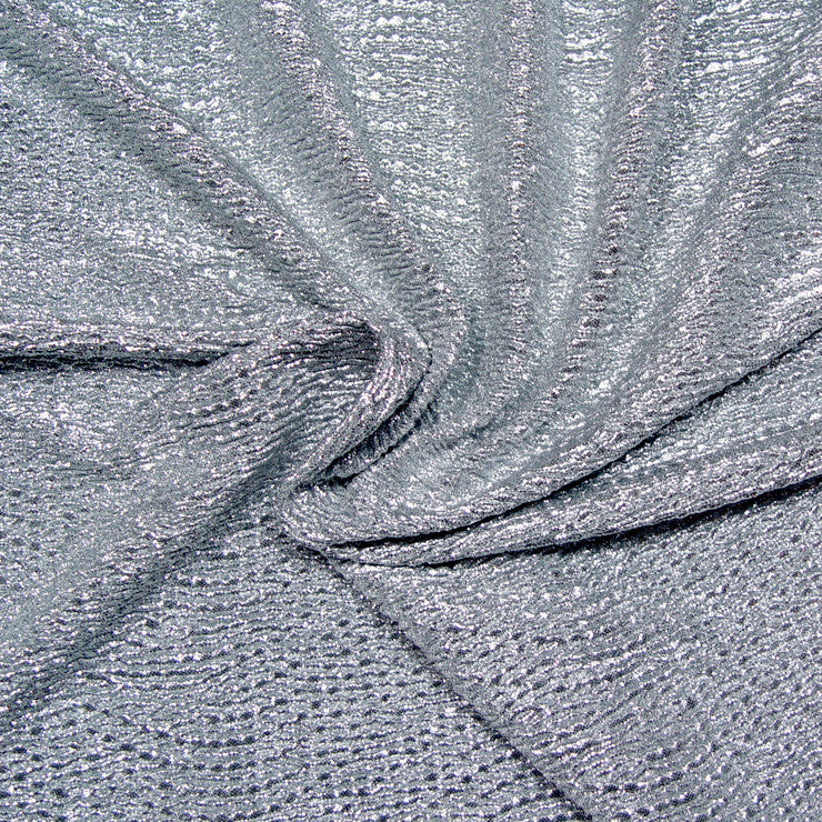 Metallic Crinkled Spandex 02 Grey Silver - NY Fashion Center Fabrics
