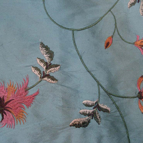Silk Entwined Floral Embroidered Shantung 02 New Blue