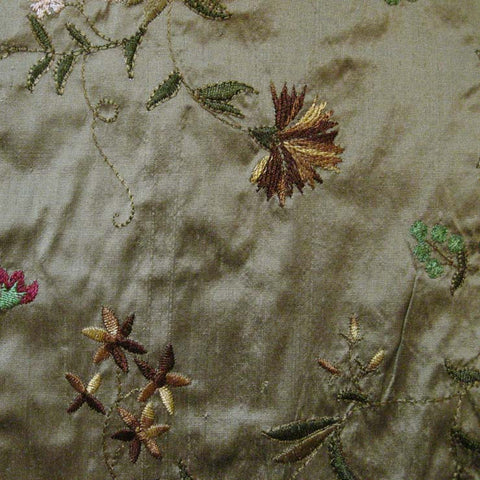 Silk Small Floral Embroidered Shantung 02 Old Gold