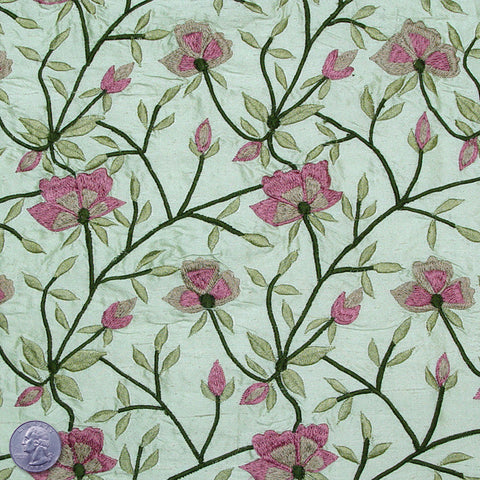 Silk Embroidered Woodland Floral Shantung 02 Parkside Dunes