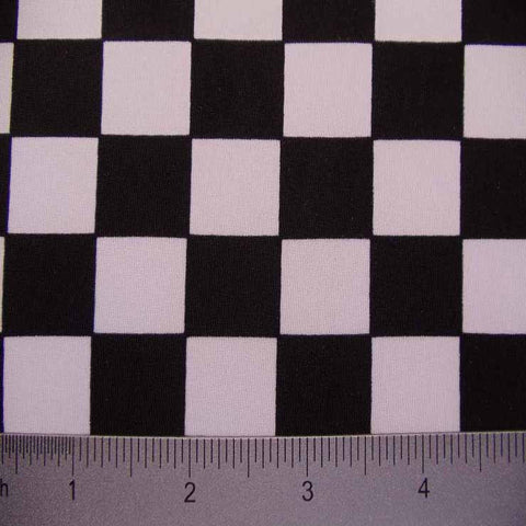Checkerboard Print Spandex #2 02 White Black - NY Fashion Center Fabrics