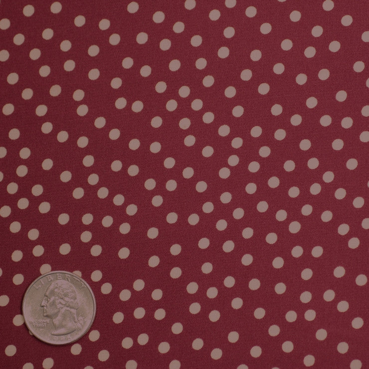 Silk Random Dots Print Crepe De Chine 02 wine white