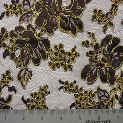 Alencon Lace #3 03 12060R 36 BrownGold - NY Fashion Center Fabrics
