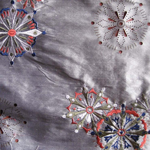 Silk Laser Cut Embroidered Shantung 03 Blacksilver