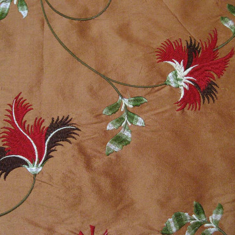 Silk Entwined Floral Embroidered Shantung 03 Brown