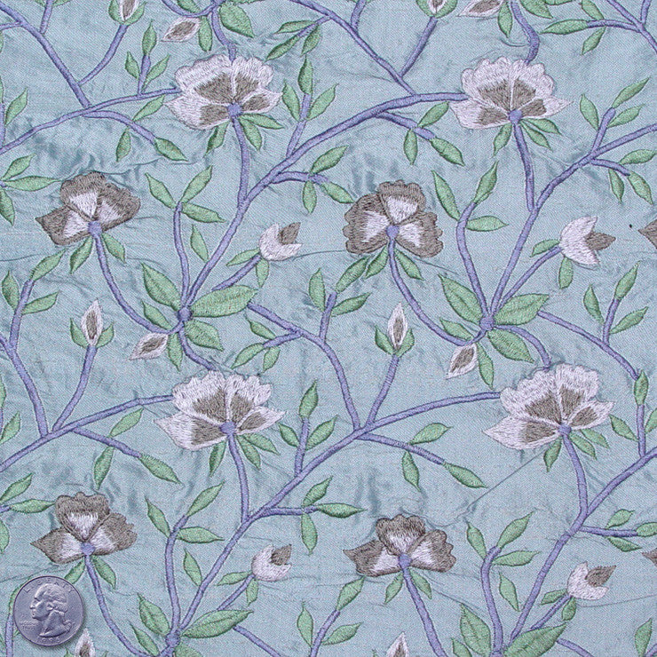 Silk Embroidered Woodland Floral Shantung 03 Crystal Spring