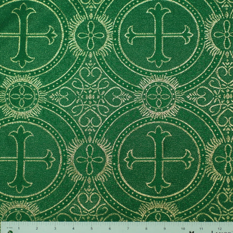 Polyester Metallic Church Brocade 03 Emerald Gold