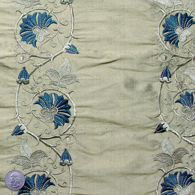 Silk Embroidered Floral Vine Shantung 03 Forest Hills Green