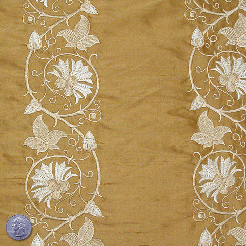 Silk Embroidered Floral Vine Shantung 04 Princeton Gold