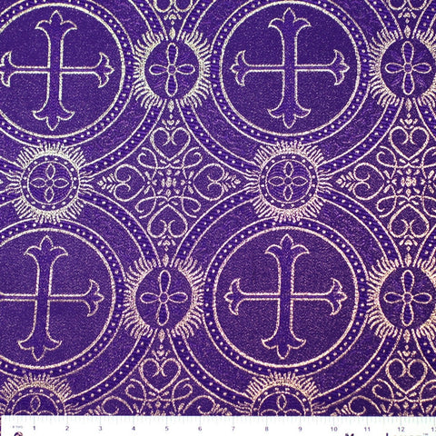 Polyester Metallic Church Brocade 04 Purple Gold
