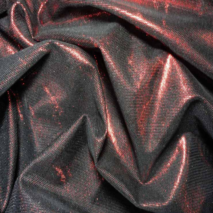 Irridescent Metallic Stretch Mesh 04 Red Black - NY Fashion Center Fabrics