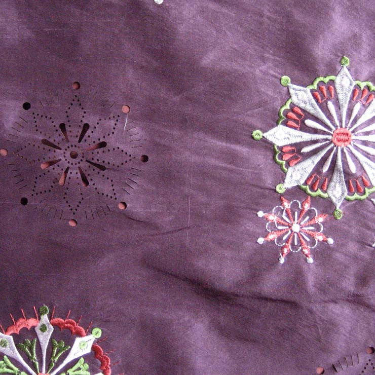 Silk Laser Cut Embroidered Shantung 04 Tulip