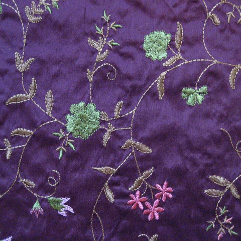 Silk Small Floral Embroidered Shantung 04 Tulip