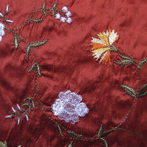 Silk Small Floral Embroidered Shantung 05 BF