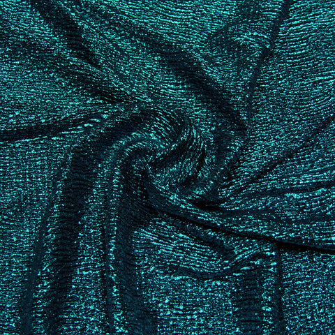 Metallic Crinkled Spandex 05 Black Turquoise - NY Fashion Center Fabrics