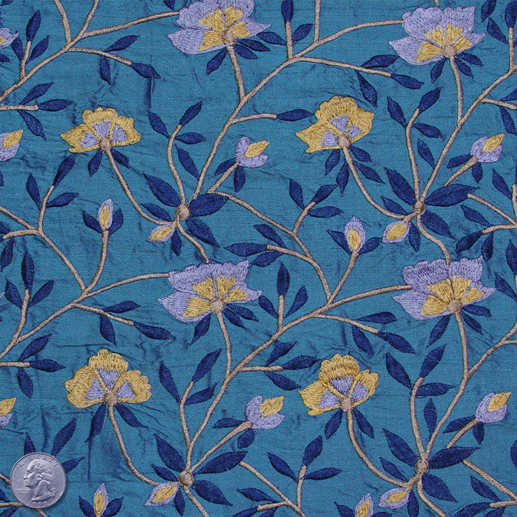Silk Embroidered Woodland Floral Shantung 05 Caribbean Azure