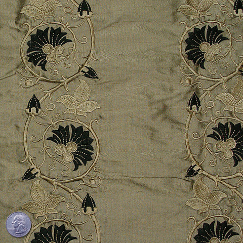 Silk Embroidered Floral Vine Shantung 05 Chopped Dill