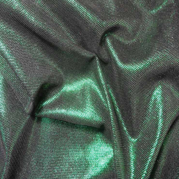 Irridescent Metallic Stretch Mesh 05 Kelly Black - NY Fashion Center Fabrics
