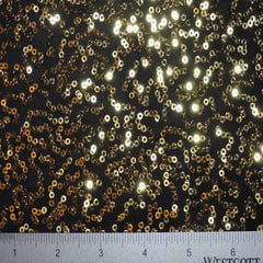Squiggle Mini Sequins Spandex 06 Black Gold