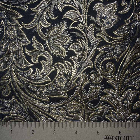 Baroque Metallic Brocade Fabric 06 Navy SilverGold - NY Fashion Center Fabrics