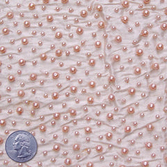 Silk Beaded Pearls Shantung 06 Peach