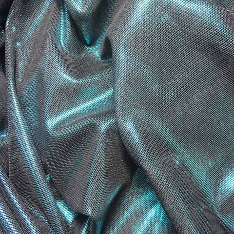 Irridescent Metallic Stretch Mesh 06 Turquoise Black - NY Fashion Center Fabrics