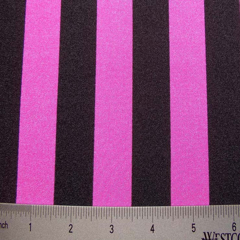 Stripes 4Way Stretch Fabric 07 1inch Stripe Black NeonPink