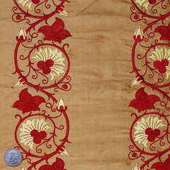Silk Embroidered Floral Vine Shantung 07 Golden Mist