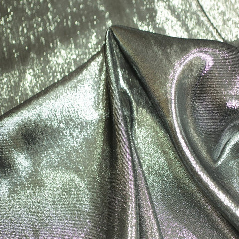 Silk Chiffon Lame 07 Silver Black