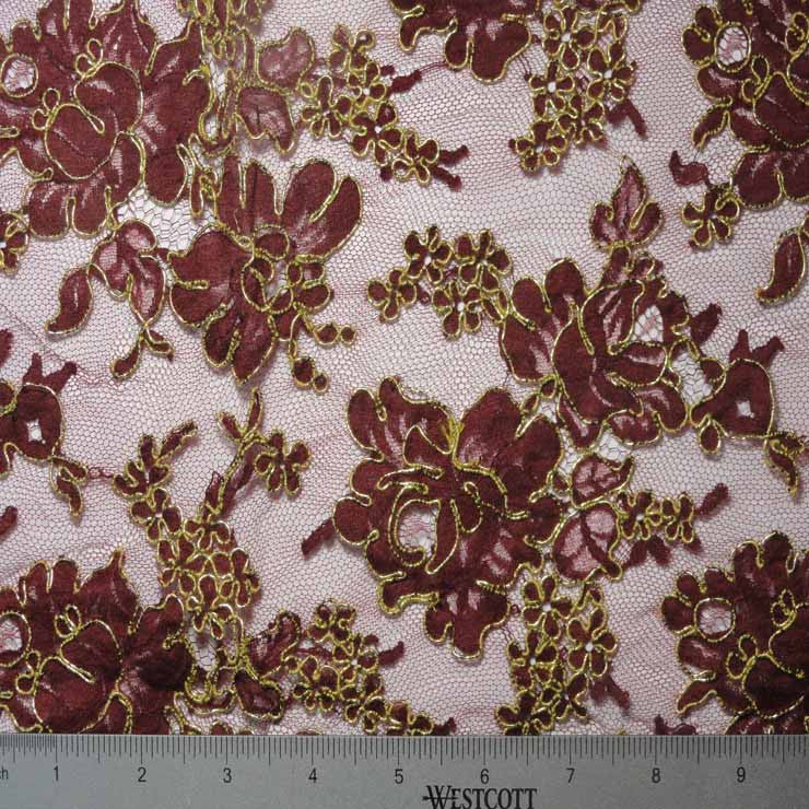 Alencon Lace #5 08 12060R 36 WineGold - NY Fashion Center Fabrics