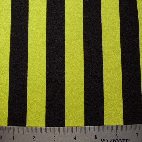 Stripes 4Way Stretch Fabric 08 1inch Stripe Black Yellow