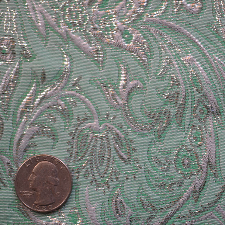Baroque Metallic Brocade Fabric 09 Green - NY Fashion Center Fabrics