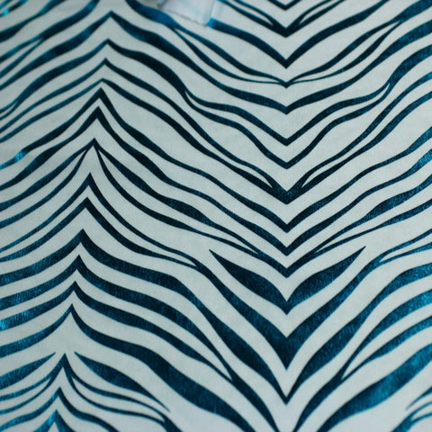 Metallic Zebra Print Spandex 11 Turquoise White - NY Fashion Center Fabrics