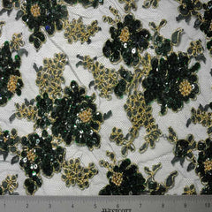Alencon Beaded Lace #2 12 12060RB 36 GreenGold - NY Fashion Center Fabrics