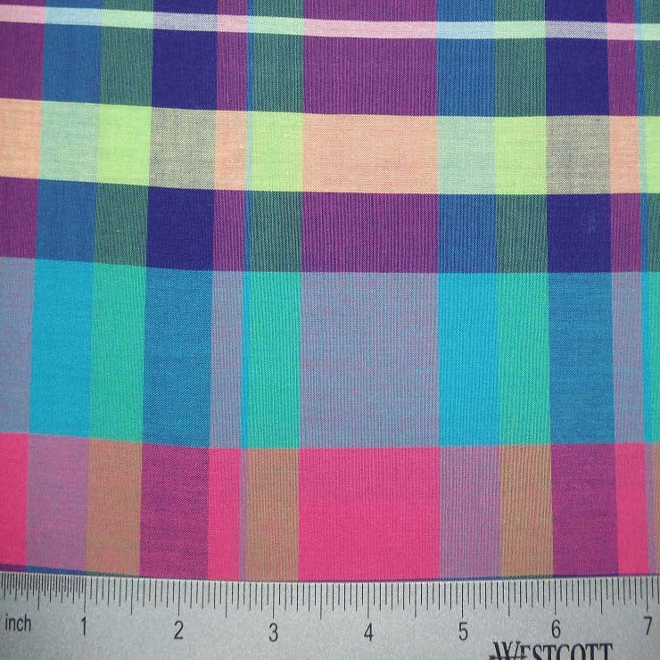 100% Cotton Fabric Checks Collection #1 12 KO3172 Y YD 9300MUL - NY Fashion Center Fabrics