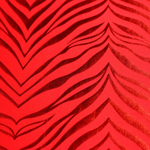 Metallic Zebra Print Spandex 12 Red Red - NY Fashion Center Fabrics