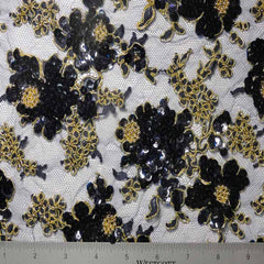 Alencon Beaded Lace #5 15 12060RB 36 NavyGold - NY Fashion Center Fabrics
