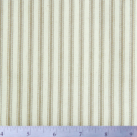 Cotton Stripe Ticking - 15 Yard Bolt 171508 Khaki - NY Fashion Center Fabrics