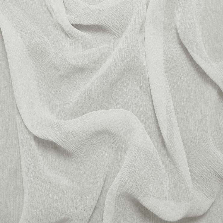 Silk Crinkle Chiffon Off White