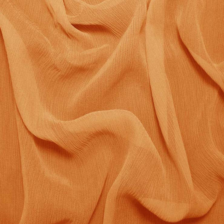 Silk Crinkle Chiffon Medium Orange