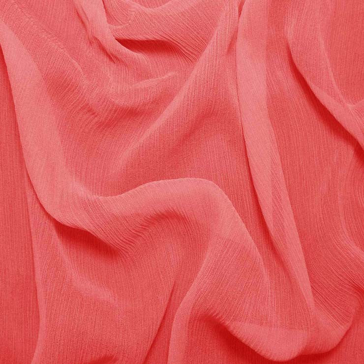 Silk Crinkle Chiffon Pink Coral