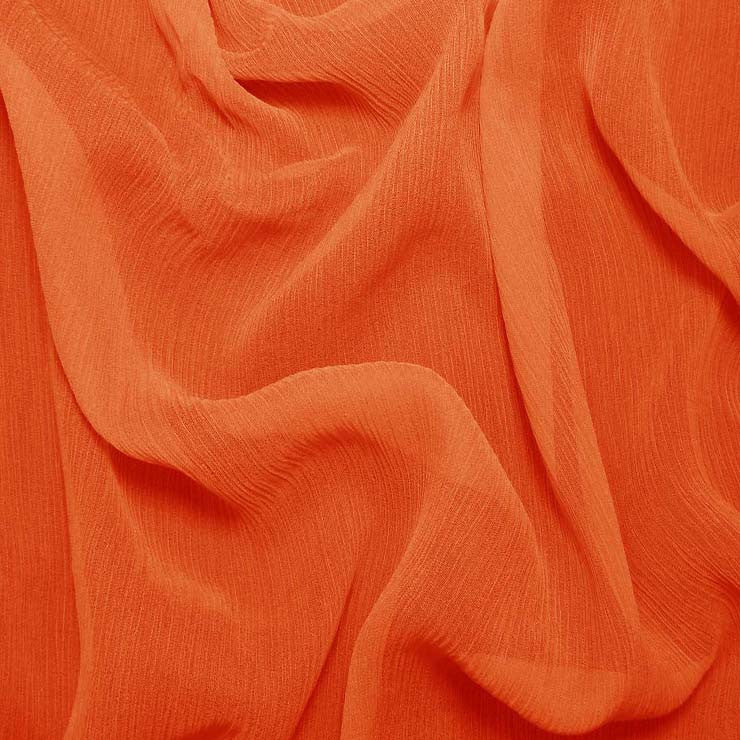 Silk Crinkle Chiffon Orange