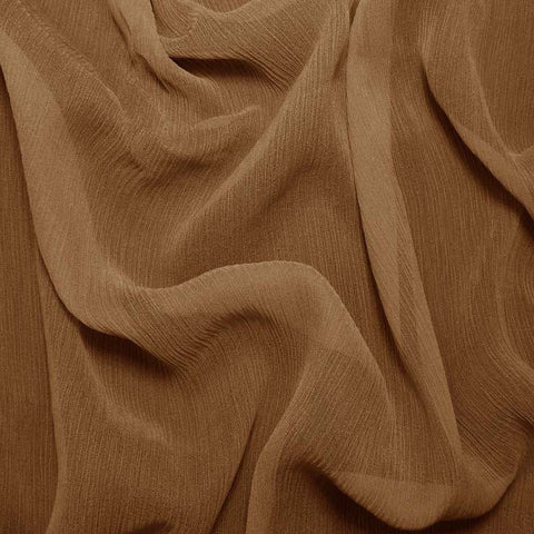 Silk Crinkle Chiffon Toffee Brown