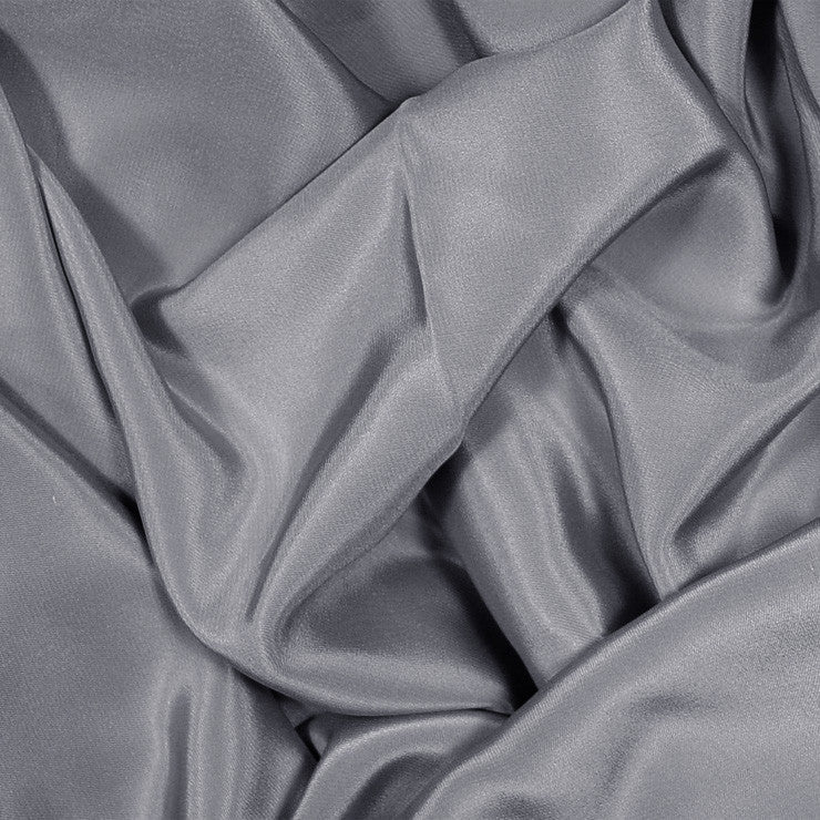 Silk Stretch Crepe De Chine Gunmetal Gray