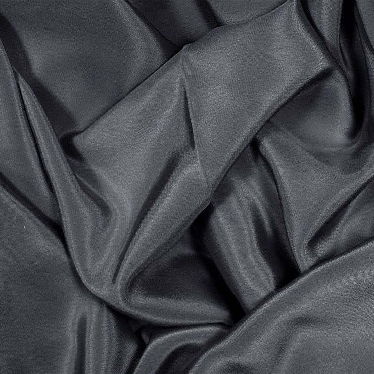 Silk Stretch Crepe De Chine Charcoal Gray